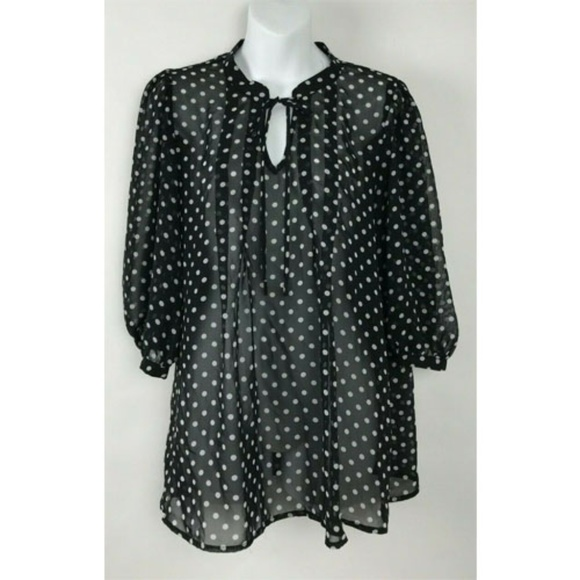 a99b14030a138a Daniel Rainn Tops | Black White Polka Dot Sheer Popover | Poshmark
